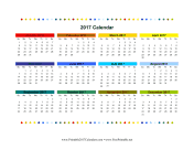 2017 Colorful Calendar calendar