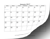 2017 Calendar with dates of adjacent months in gray calendar