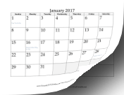 2017 Calendar with days of adjacent months in gray calendar