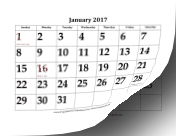 2017 Calendar with Large Dates calendar