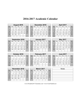 picture relating to School Calendar -16 Printable named Printable 2016-2017 Instructional Calendar