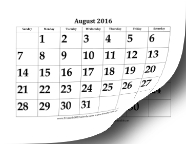 2016-2017 Large Academic Calendar Calendar