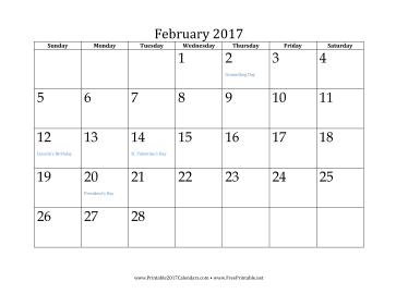 graphic about Printable Feb. Calendar named Printable February 2017 Calendar