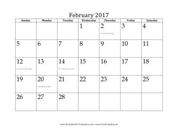 February 2017 Calendar Calendar