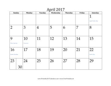 April 2017 Calendar Calendar