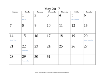 Printable May 2017 Calendar