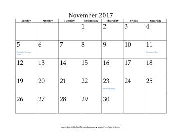 November 2017 Calendar Calendar