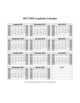 printable 2017 2018 academic calendar