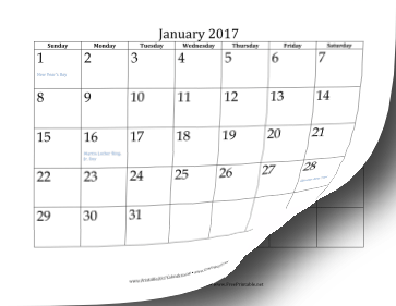 printable 2017 calendar 12 pages