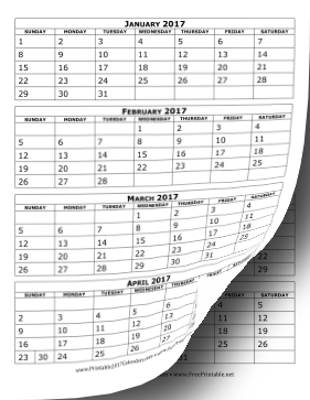 2017 Calendar Four Months Per Page Calendar