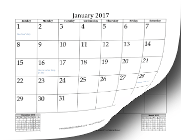 Printable 2017 Mini Month Calendar