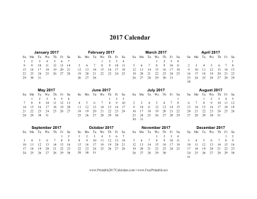 picture relating to Printable Calendar on One Page called Printable 2017 Calendar upon 1 webpage (horizontal)