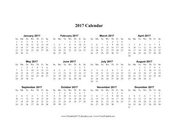 2017 Calendar on one page (horizontal) Calendar
