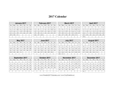 printable 2017 calendar on one page horizontal grid