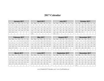 Printable Calendar Horizontal 2017 | Printable Calendars 2017