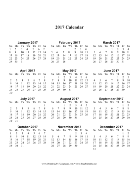 2017 Calendar one page with Large Print (vertical) Calendar