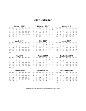 2017 Calendar on one page (vertical) Calendar