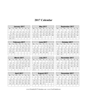 2017 Calendar on one page (vertical week starts on Monday) Calendar