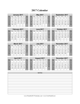 printable 2017 calendar on one page vertical shaded weekends notes