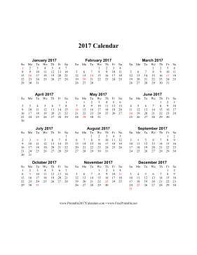 printable 2017 calendar on one page vertical holidays in red
