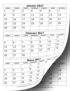 graphic about 3 Month Calendar Printable referred to as Printable 2017 Calendar A few Weeks For every Site
