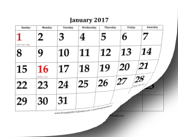 Printable 2017 Calendar With Large Dates
