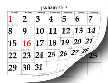 2017 Calendar with Large Print Calendar